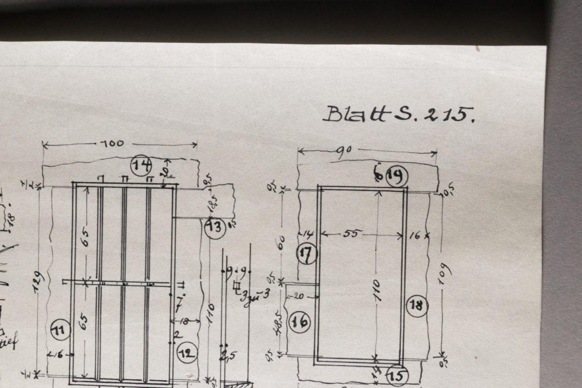 Architekturzeichnung Restaurierung Knicke Transparentpapier