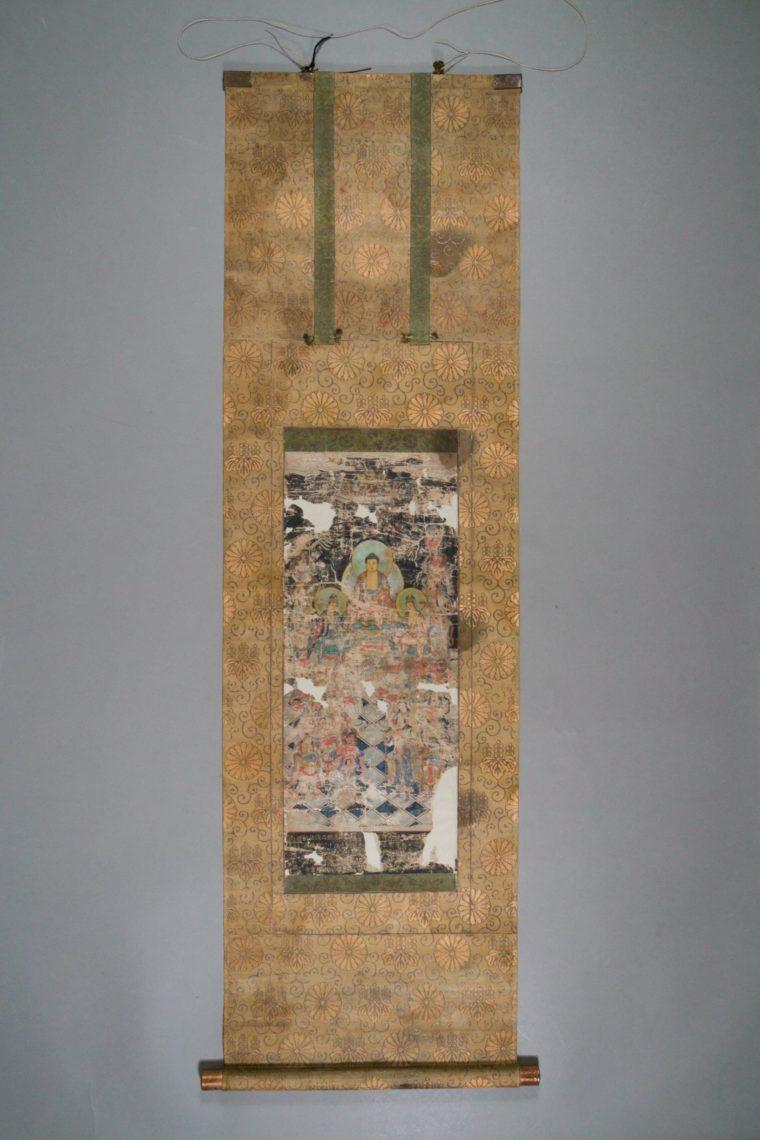 Restaurierung Buddhistisches Hängerollbild Nachzustand